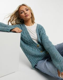 Кардиган с узором «косичка» Free People Molly-Голубой