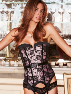 Корсет Satin and Lace Corset – розовый, S